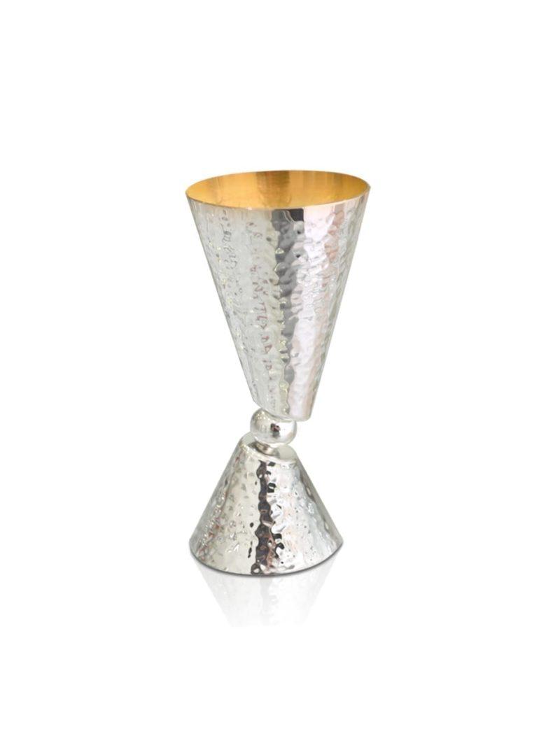 כוס קטנה מכסף סטרלינג מרוקעת בעיצוב ייחודי ומודרני