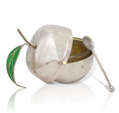 כלי לדבש בצורת תפוח ירוק מכסף סטרלינג 925