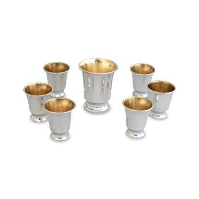 silver kiddush Set with 6 Liqueurs