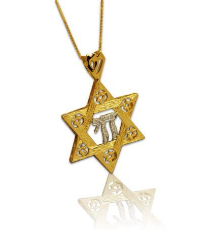 חי בתליון מגן דוד זהב צהוב / לבן