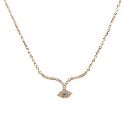 שרשרת זהב 14 קראט עם תליון עין הרע משובץ יהלומים