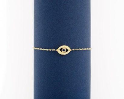 צמיד זהב עין הרע בשיבוץ ספיר ויהלומים