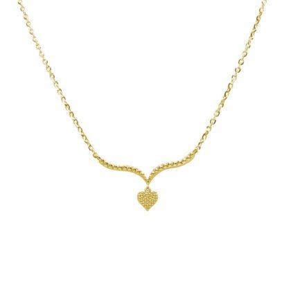 שרשרת זהב צהוב 14 קראט עם תליון לב