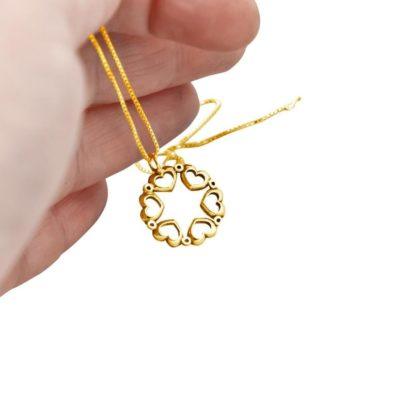 תליון קטן בעיצוב מגן דוד ולבבות מזהב צהוב 14 קראט