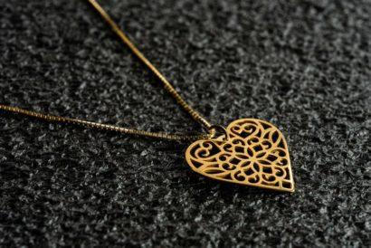 שרשרת לב תחרה זהב צהוב 14 קראט